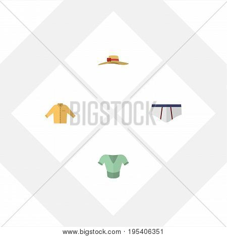Flat Icon Clothes Set Of Elegant Headgear, Banyan, Underclothes And Other Vector Objects. Also Includes Hat, Shirt, Man Elements.