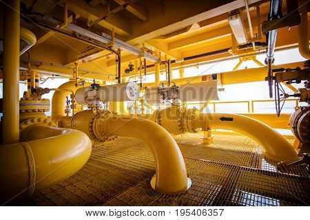 Oil and gas pipe lines and shutdown valve in oil and gas platform offshore