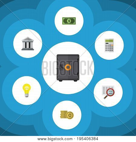 Flat Icon Gain Set Of Calculate, Strongbox, Bank And Other Vector Objects. Also Includes Magnifier, Calculate, Architecture Elements.