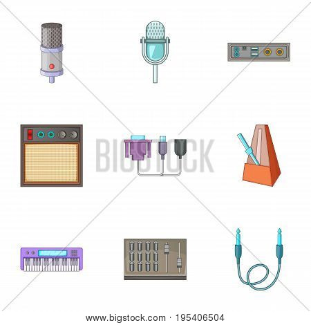 Sound studio equipment icons set. Cartoon set of 9 sound studio equipment vector icons for web isolated on white background