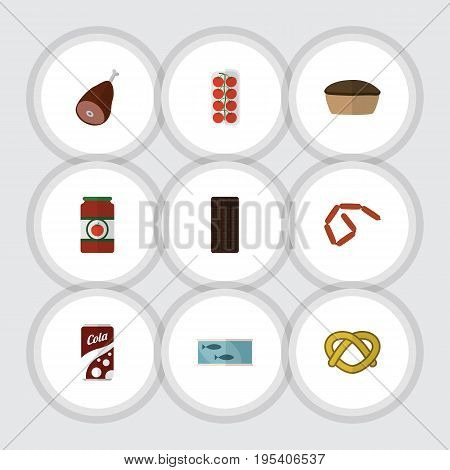 Flat Icon Meal Set Of Fizzy Drink, Bratwurst, Ketchup And Other Vector Objects. Also Includes Apple, Canned, Chocolate Elements.