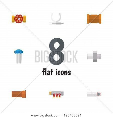 Flat Icon Plumbing Set Of Pipe, Drain, Conduit And Other Vector Objects. Also Includes Pipework, Pump, Connector Elements.