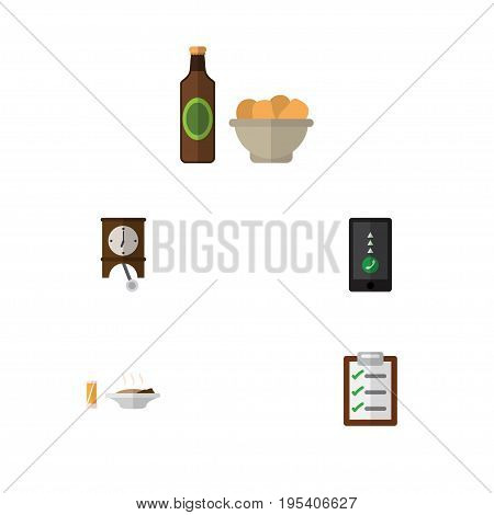 Flat Icon Life Set Of Cellphone, Questionnaire, Beer With Chips And Other Vector Objects. Also Includes Chips, Drink, Telephone Elements.