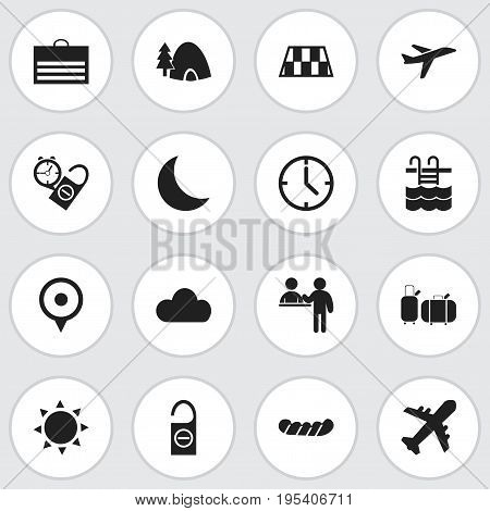 Set Of 16 Editable Journey Icons. Includes Symbols Such As Bratwurst, Suitcases, Airplane And More. Can Be Used For Web, Mobile, UI And Infographic Design.