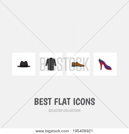 Flat Icon Dress Set Of Panama, Uniform, Heeled Shoe And Other Vector Objects. Also Includes Clothes, Shoe, Sandal Elements.