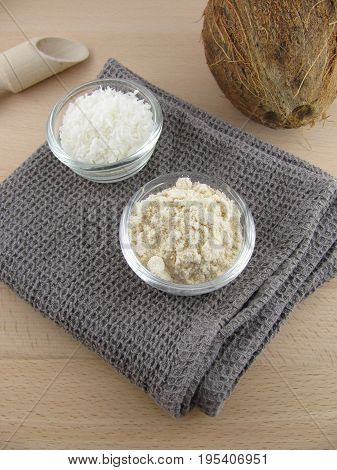 Fresh flour from coconut and grated coconut