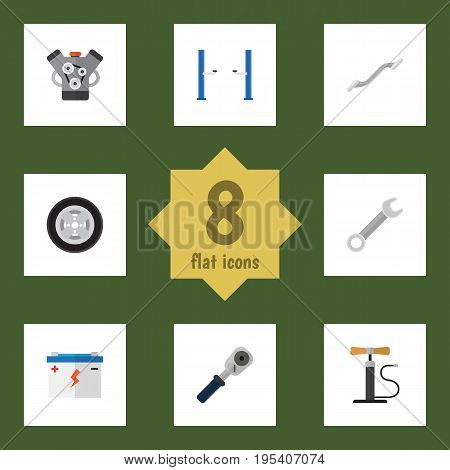 Flat Icon Service Set Of Ratchet, Tire, Coupler And Other Vector Objects. Also Includes Spanner, Tire, Ratchet Elements.