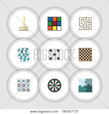 Flat Icon Entertainment Set Of Labyrinth, Multiplayer, Chess Table And Other Vector Objects. Also Includes Arrow, Puzzle, Labyrinth Elements.