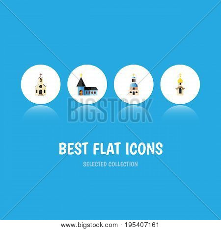 Flat Icon Church Set Of Christian, Building, Structure And Other Vector Objects. Also Includes Catholic, Structure, Christian Elements.