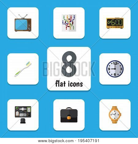Flat Icon Oneday Set Of Bureau, Television, Briefcase And Other Vector Objects. Also Includes Television, Tv, Time Elements.