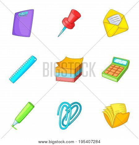 School stationery icons set. Cartoon set of 9 school stationery vector icons for web isolated on white background