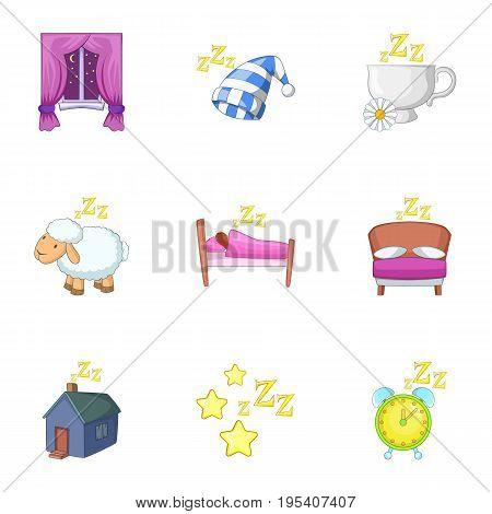 Deep sleep icons set. Cartoon set of 9 deep sleep vector icons for web isolated on white background