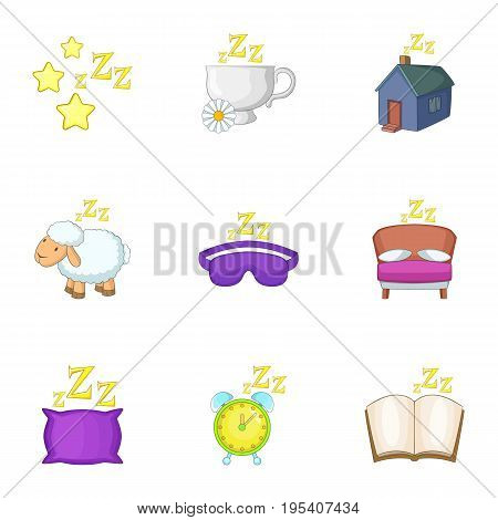 Preparation to sleep icons set. Cartoon set of 9 preparation to sleep vector icons for web isolated on white background