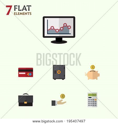 Flat Icon Gain Set Of Calculate, Payment, Hand With Coin Vector Objects. Also Includes Money, Finance, Bank Elements.