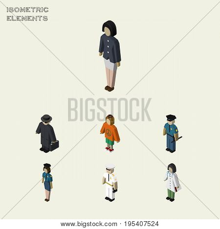 Isometric People Set Of Officer, Policewoman, Seaman And Other Vector Objects. Also Includes Woman, Medic, Seaman Elements.
