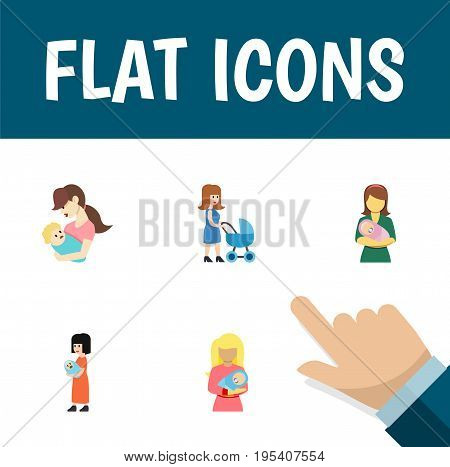 Flat Icon Mam Set Of Baby, Perambulator, Woman And Other Vector Objects. Also Includes Nanny, Perambulator, Woman Elements.