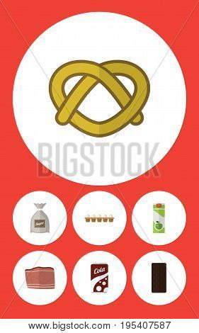 Flat Icon Meal Set Of Beef, Cookie, Confection And Other Vector Objects. Also Includes Cola, Confection, Drink Elements.