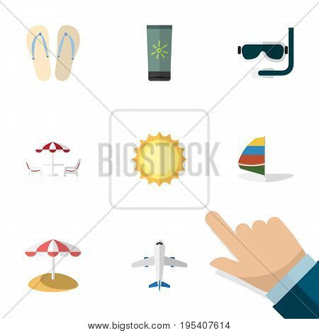 Flat Icon Beach Set Of Moisturizer, Sunshine, Recliner And Other Vector Objects. Also Includes Aircraft, Sandals, Beach Elements.