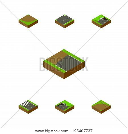 Isometric Road Set Of Sand, Underground, Upwards Vector Objects. Also Includes Subway, Strip, Underground Elements.