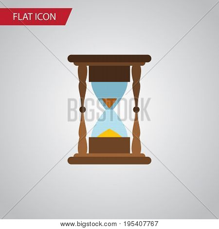 Isolated Clock Flat Icon. Minute Measuring Vector Element Can Be Used For Instrument, Timer, Sandglass Design Concept.