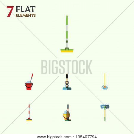 Flat Icon Cleaner Set Of Besom, Broom, Broomstick And Other Vector Objects. Also Includes Sweeper, Cleaning, Broomstick Elements.