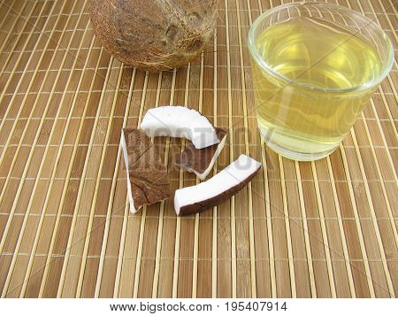 Fresh water from coconut in a glass