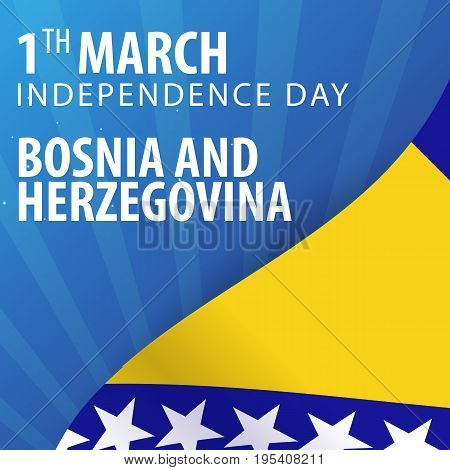 Independence Day Of Bosnia And Herzegovina. Flag And Patriotic Banner. Vector Illustration.