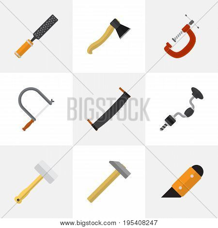 Set Of 9 Editable Tools Icons. Includes Symbols Such As Knife, Clinch, Boer And More. Can Be Used For Web, Mobile, UI And Infographic Design.
