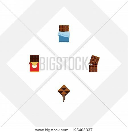 Flat Icon Sweet Set Of Delicious, Wrapper, Bitter And Other Vector Objects. Also Includes Delicious, Bitter, Cocoa Elements.