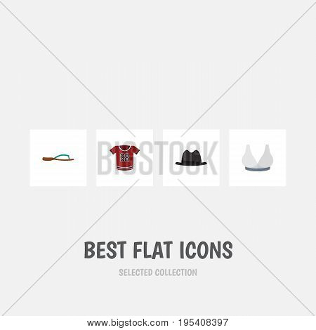 Flat Icon Clothes Set Of Brasserie, Beach Sandal, Panama Vector Objects. Also Includes Panama, Flop, Sport Elements.