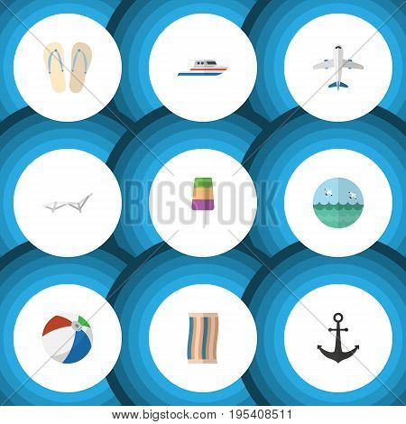 Flat Icon Summer Set Of Wiper, Aircraft, Ship Hook And Other Vector Objects. Also Includes Aircraft, Anchor, Yacht Elements.