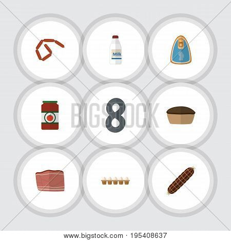 Flat Icon Meal Set Of Canned Chicken, Beef, Eggshell Box And Other Vector Objects. Also Includes Chicken, Sausage, Smoked Elements.