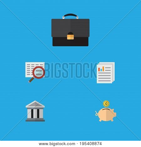 Flat Icon Incoming Set Of Portfolio, Scan, Bank And Other Vector Objects. Also Includes Diplomat, File, Briefcase Elements.