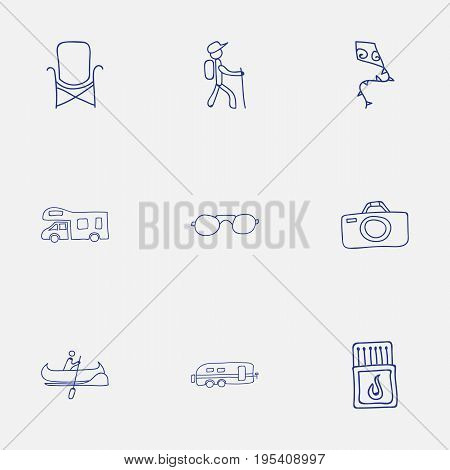 Set Of 9 Editable Trip Icons. Includes Symbols Such As Boat, Flammable Stick, Hiker And More. Can Be Used For Web, Mobile, UI And Infographic Design.