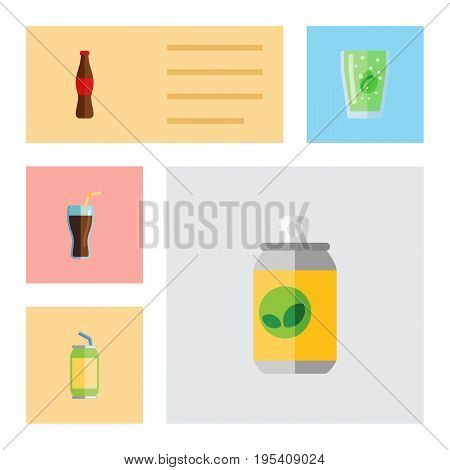 Flat Icon Soda Set Of Fizzy Drink, Drink, Cup And Other Vector Objects. Also Includes Cola, Bottle, Drink Elements.