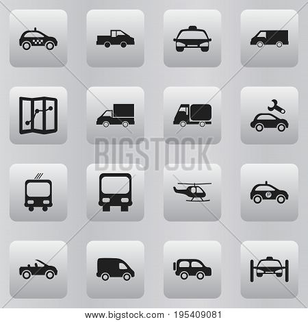 Set Of 16 Editable Transportation Icons. Includes Symbols Such As Family Jeep, Delivery, Carriage And More. Can Be Used For Web, Mobile, UI And Infographic Design.