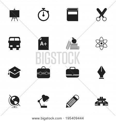 Set Of 16 Editable Knowledge Icons. Includes Symbols Such As Eraser , Painter's Stand, Page. Can Be Used For Web, Mobile, UI And Infographic Design.