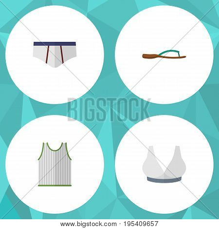 Flat Icon Dress Set Of Beach Sandal, Underclothes, Brasserie Vector Objects. Also Includes Tank, Singlet, Breast Elements.