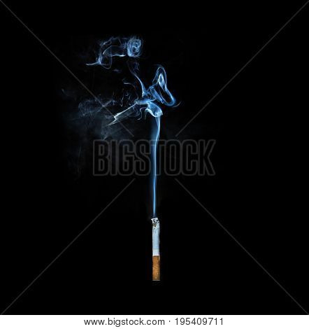 Smoking cigarette on black background minimalism style