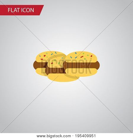 Isolated Cookies Flat Icon. Biscuit Vector Element Can Be Used For Cookie, Shortcake, Biscuit Design Concept.