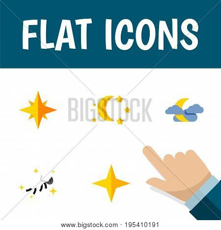 Flat Icon Night Set Of Asterisk, Bedtime, Midnight And Other Vector Objects. Also Includes Sky, Night, Midnight Elements.