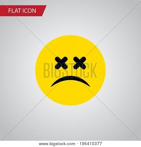 Isolated Dizzy Emoticon Flat Icon. Cross-Eyed Face Vector Element Can Be Used For Dizzy, Emoticon, Face Design Concept.