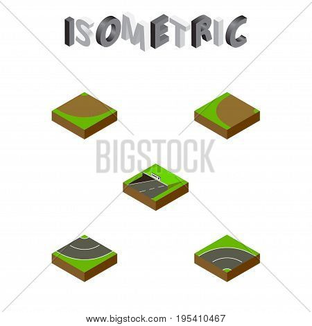 Isometric Road Set Of Subway, Bitumen, Turning And Other Vector Objects. Also Includes Asphalt, Bitumen, Underground Elements.