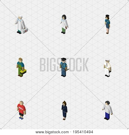 Isometric Person Set Of Seaman, Officer, Businesswoman And Other Vector Objects. Also Includes Policewoman, Seaman, Policeman Elements.