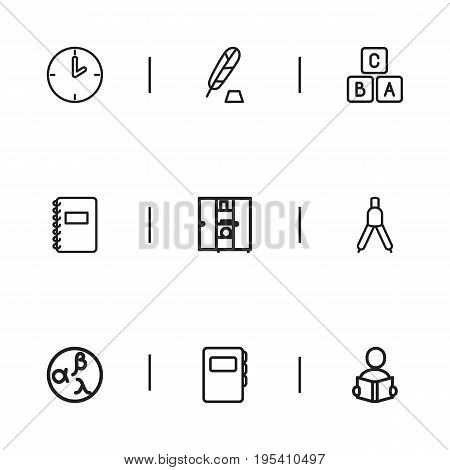 Set Of 9 Editable Teach Icons. Includes Symbols Such As Garland, Classbook , Learning. Can Be Used For Web, Mobile, UI And Infographic Design.