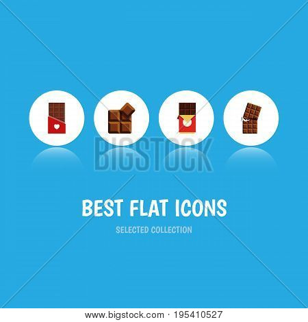 Flat Icon Cacao Set Of Chocolate, Chocolate Bar, Wrapper And Other Vector Objects. Also Includes Delicious, Shaped, Wrapper Elements.