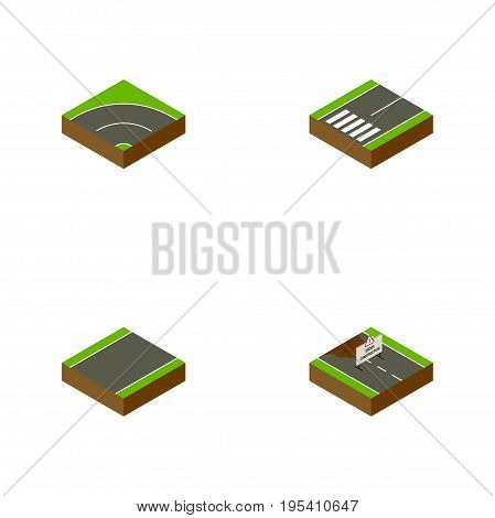 Isometric Way Set Of Repairs, Footpassenger, Bitumen And Other Vector Objects. Also Includes Asphalt, Road, Unilateral Elements.