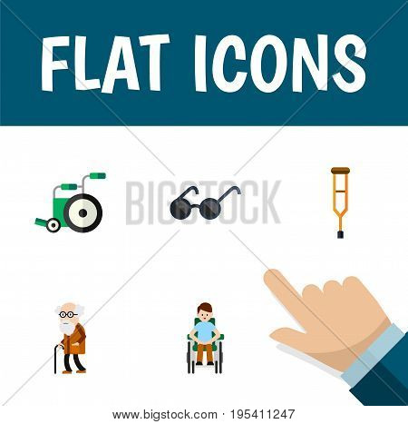 Flat Icon Disabled Set Of Equipment, Ancestor, Stand Vector Objects. Also Includes Old, Ancestor, Wheelchair Elements.