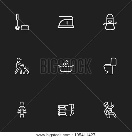 Set Of 9 Editable Cleaning Icons. Includes Symbols Such As Housekeeping, Window Cleaner, Kitchen Clothing And More. Can Be Used For Web, Mobile, UI And Infographic Design.