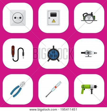 Set Of 9 Editable Electrical Icons. Includes Symbols Such As Borer, Rosette, Nipper And More. Can Be Used For Web, Mobile, UI And Infographic Design.